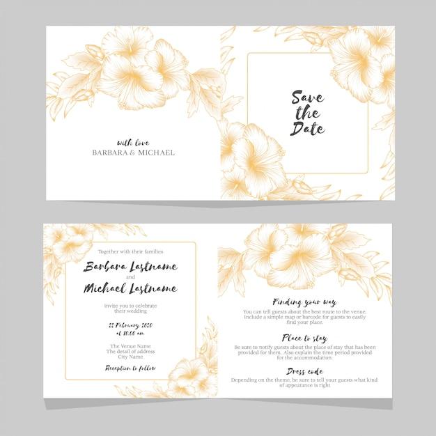 Golden Hibiscus Floral Wedding Invitation Template Vector