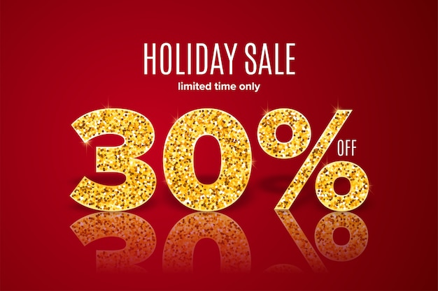 Golden holiday sale 30% off on red background Premium Vector
