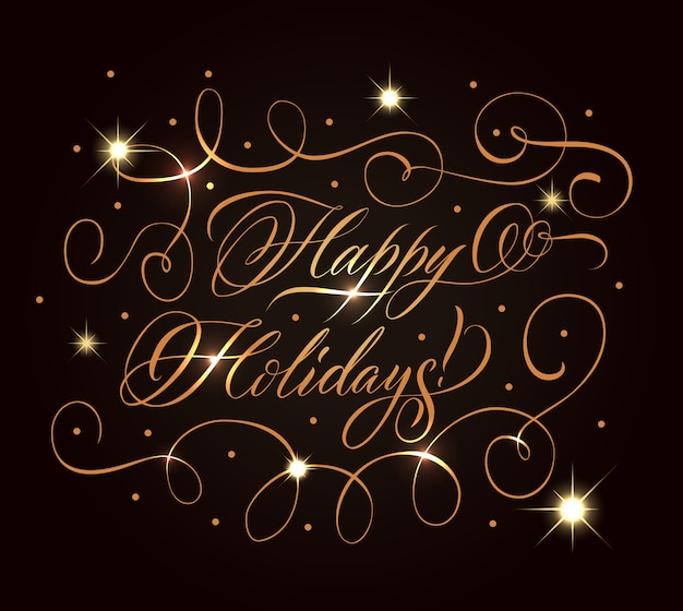 Golden holidays greeting composition Free Vector