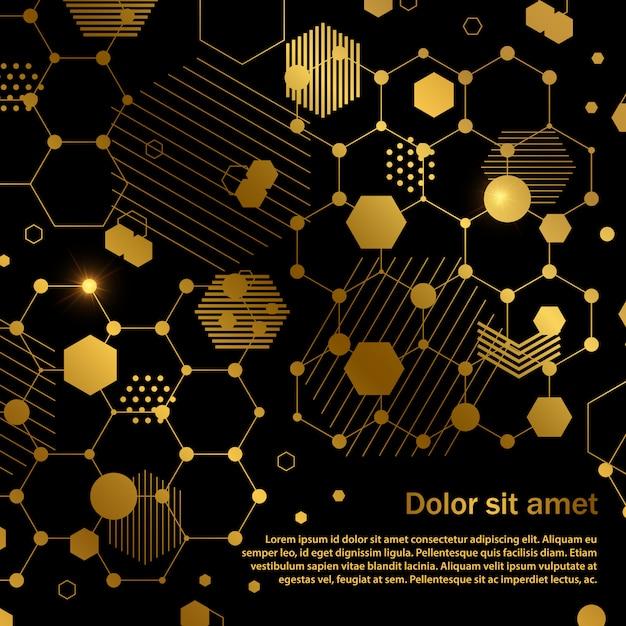 Golden honeycomb abstract geometric background template Premium Vector