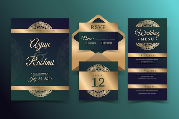 Golden indian wedding stationery Free Vector