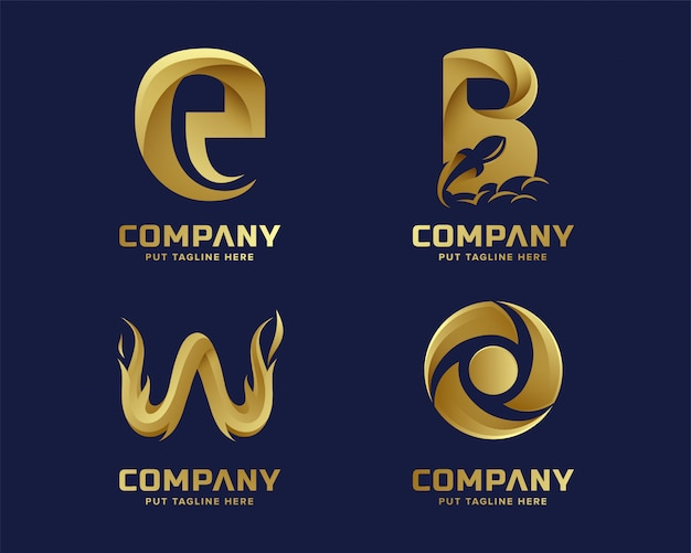 Golden inital letter logo collection Premium Vector