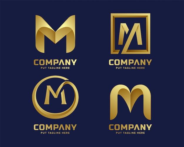 Golden inital letter m logo collection Premium Vector