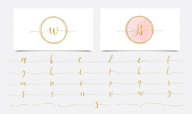 Golden initials watercolor with golden linear logo design Premium Vector