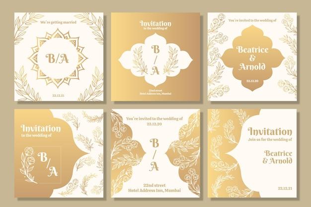 Золотая коллекция постов instagram для свадьбы Бесплатные векторы