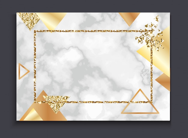 Golden invitation or brochure Premium Vector