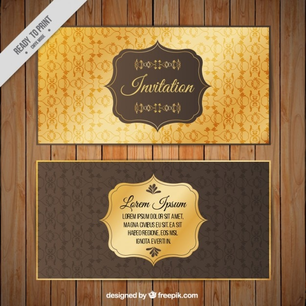 Golden invitation template vector free download golden invitation template free vector stopboris Image collections