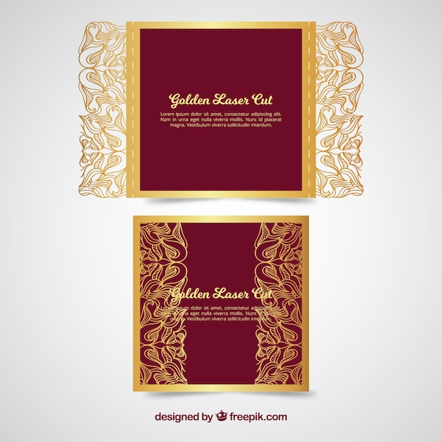 Golden invitation with laser cut vector free download golden invitation with laser cut free vector stopboris Image collections