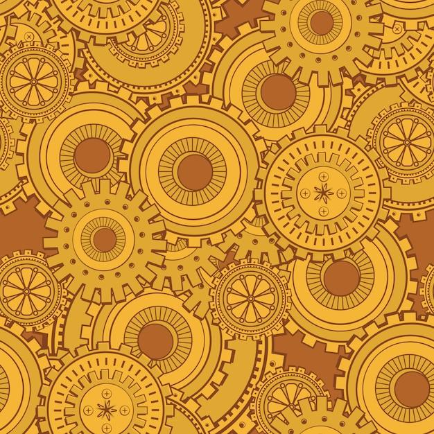 Golden iron gearwheels technology backdrop Free Vector