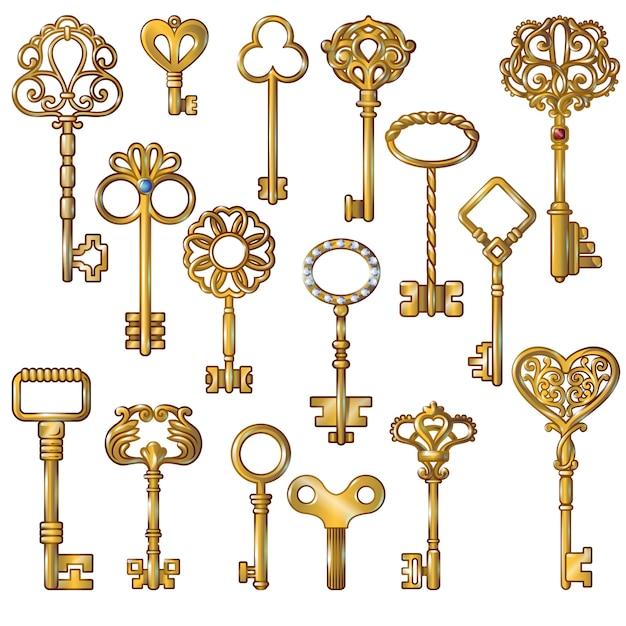 黄金の鍵セット 無料ベクター