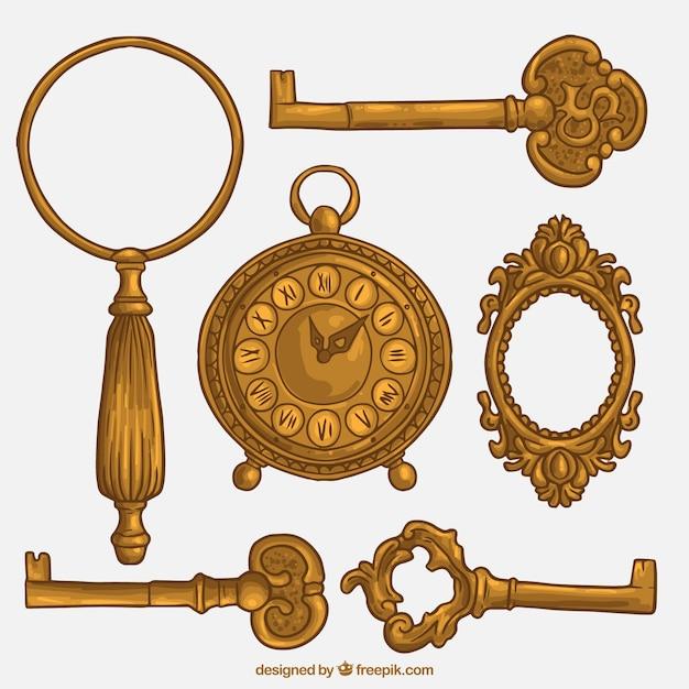 Golden keys and vintage elements Free Vector