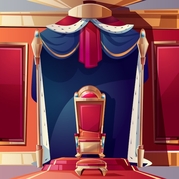 Golden kings throne inlaid with gems, ottoman and pillow on seat Free Vector