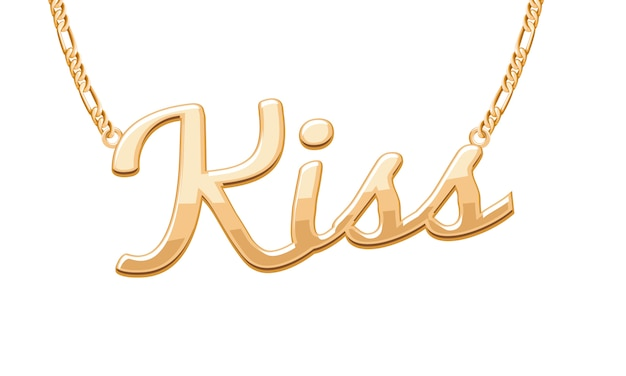 Golden kiss word pendant on chain necklace. jewelry . Premium Vector