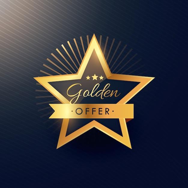 Golden label, star Free Vector