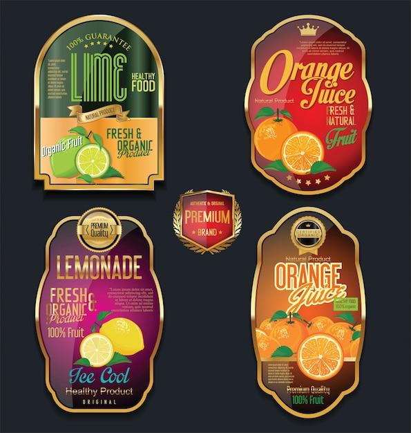 Golden labels for organic fruit product Premium Vector