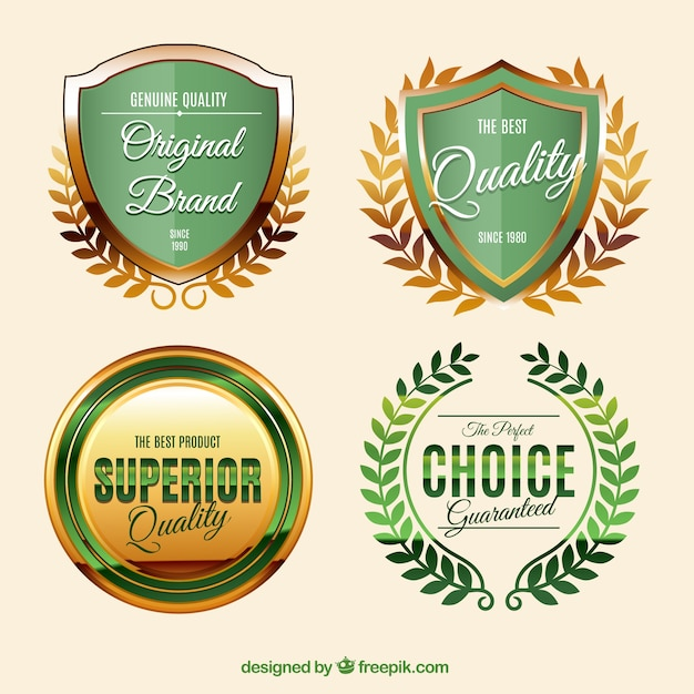 Golden labels in vintage style Free Vector