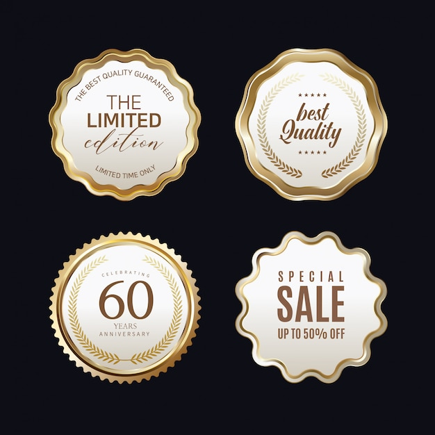 Golden labels with golden frame over beige Premium Vector