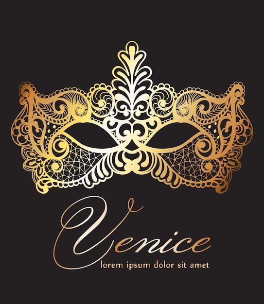 Golden lace mask carnival Premium Vector