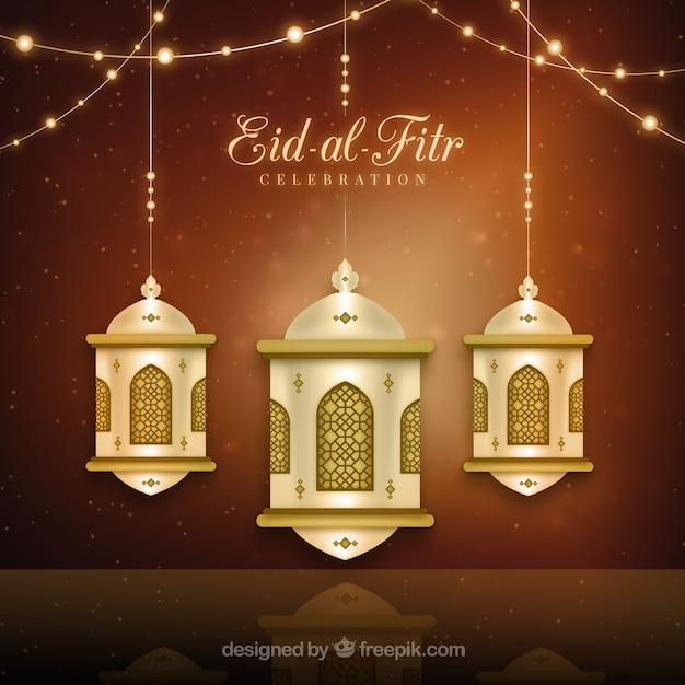Golden lantern eid-al-fitr background Vector  Free Download