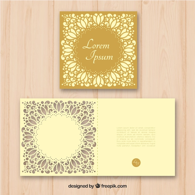 Golden laser cut invitation vector free download golden laser cut invitation free vector stopboris Image collections