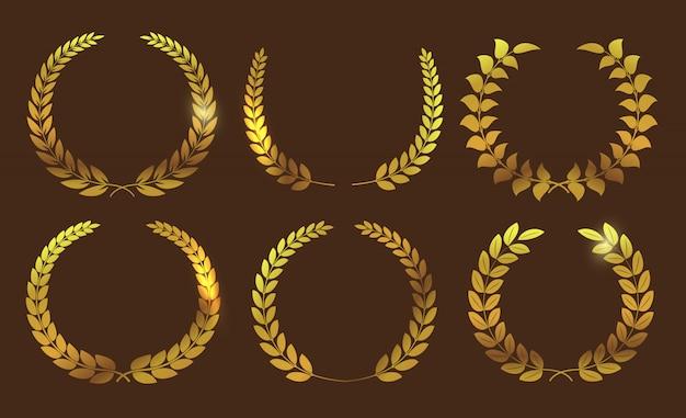 Golden laurel wreath collection Premium Vector