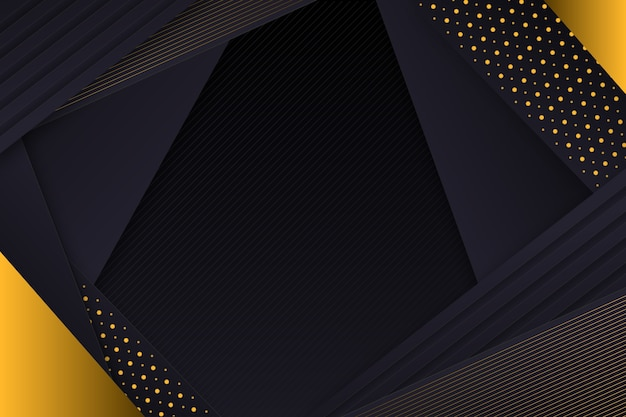 Golden layered details on dark paper background Free Vector
