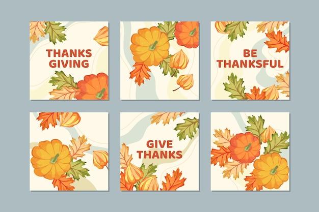 Post di instagram di ringraziamento disegnati a mano di foglie d'oro Vettore gratuito
