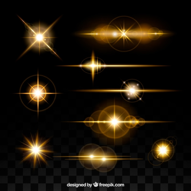 Golden lens flare collection Free Vector