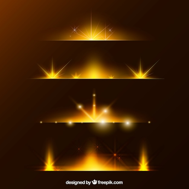 Golden lens flare divider collection Free Vector