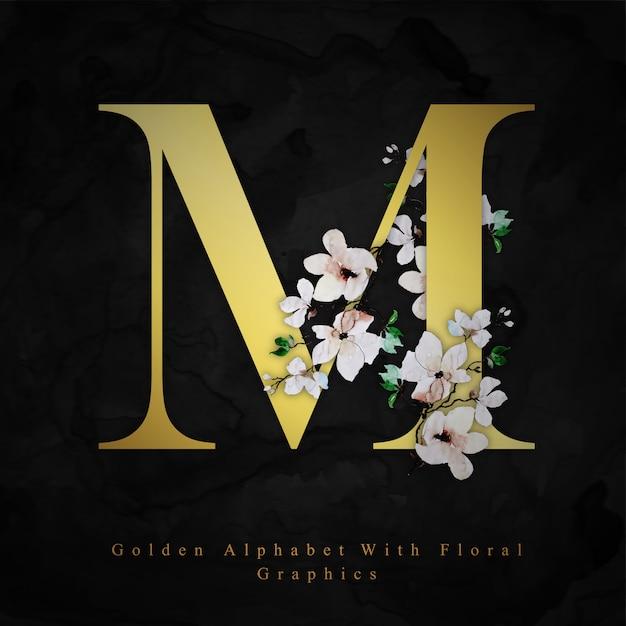ゴールデンレターm水彩花の背景 Premiumベクター