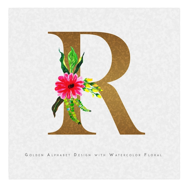 Golden Letter R Watercolor Floral Background Vector Premium Download