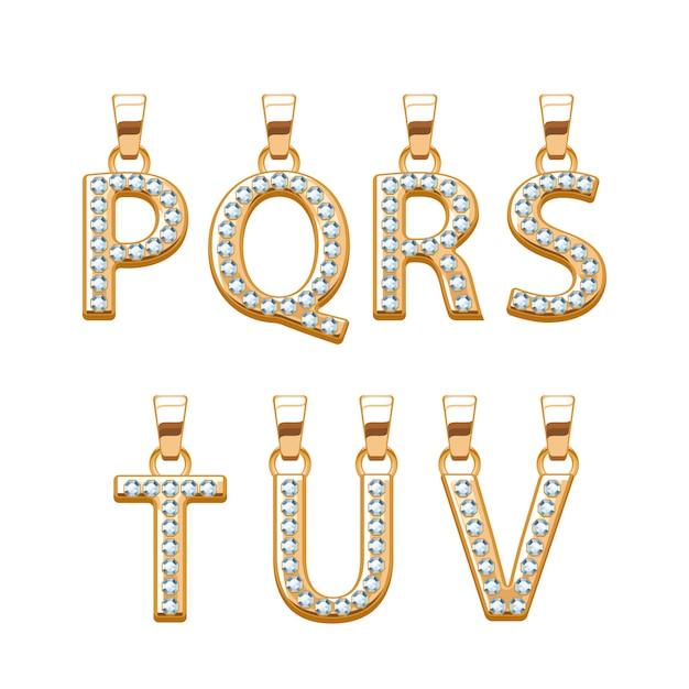 ダイヤモンドの宝石と黄金の文字abcペンダントセット。図。ジュエリーに適しています。 Premiumベクター