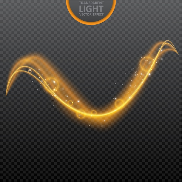 Golden light effect on transparent with glowing swirl light effect Premium Vector