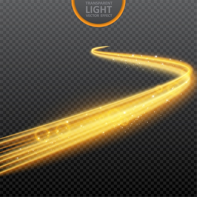 Golden light effect on transparent with realistic sparkles Premium Vector