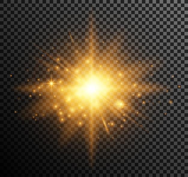 황금 빛. 하이라이트 효과로 빛나는 입자, 보케, 스파크, 눈부심 무료 벡터