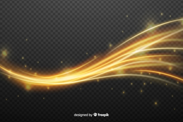 Golden light wave effect with no background Free Vector