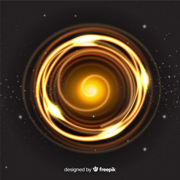 Golden light whirl effect from above Free Vector