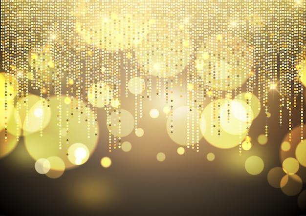 Golden lights background Free Vector