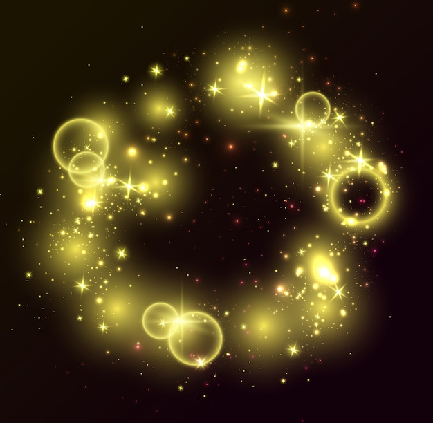 Golden lights, black background. glitter shiny elements, glowing stars, rings Free Vector
