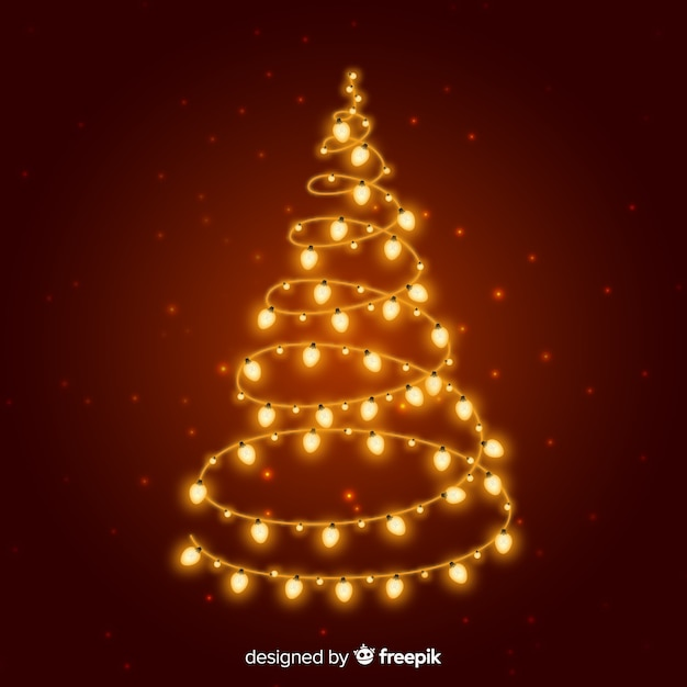 Golden lights christmas tree Free Vector