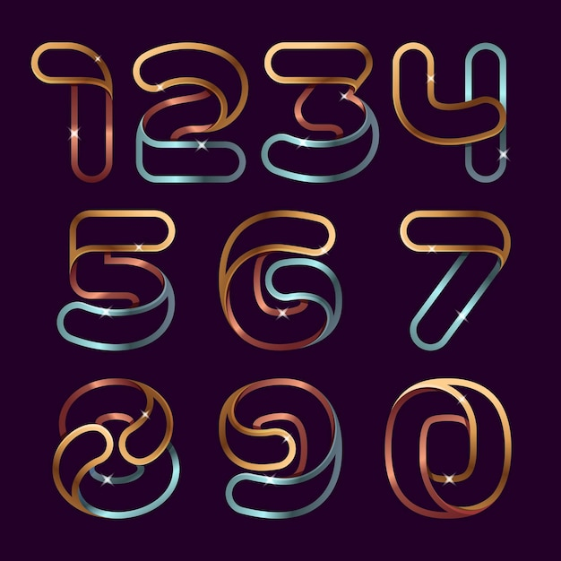 Набор номеров золотой линии. роскошный алфавит Premium векторы