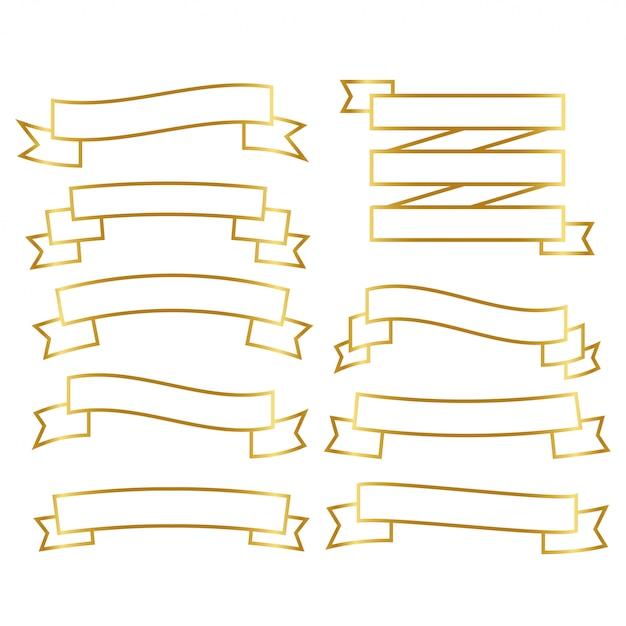 Golden line ribbons set Free Vector