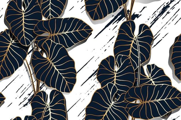 Lá khoai môn vẽ nét màu vàng với hoa văn liền mạch