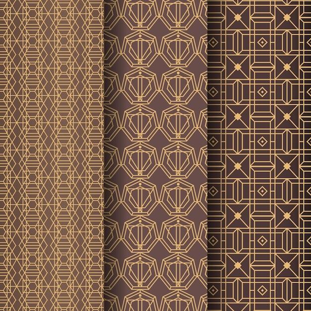 Golden lines art deco pattern template Premium Vector