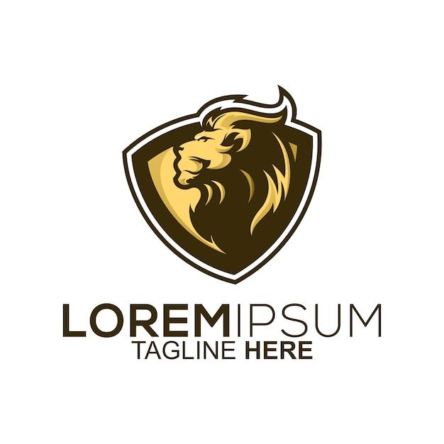 Golden lion shield logo design Premium Vector