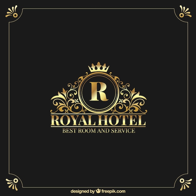Golden logo with vintage and luxury style Premium Vector