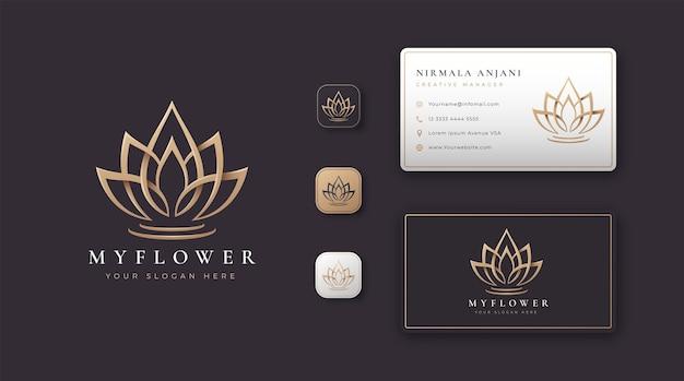 Golden lotus flower logo and business card design Premium Vector
