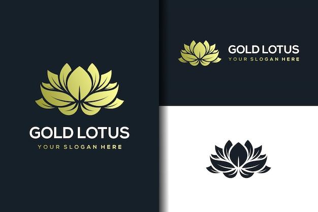黄金の蓮のロゴのデザインテンプレート Premiumベクター