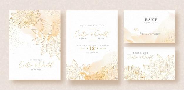 招待カードテンプレートの黄金の蓮のベクトル Premiumベクター