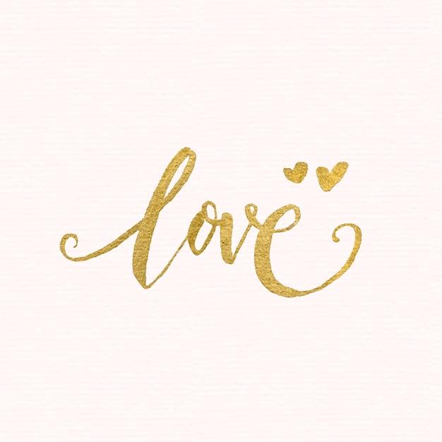 Golden love lettering Premium Vector